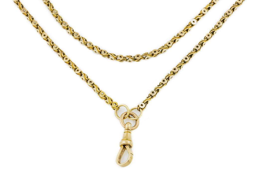 "Victorian 9ct Gold Long Guard Chain, 56"" (29.3g)"