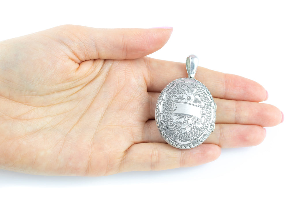 Victorian Silver Engraved Oval Locket with Cartouche Banner