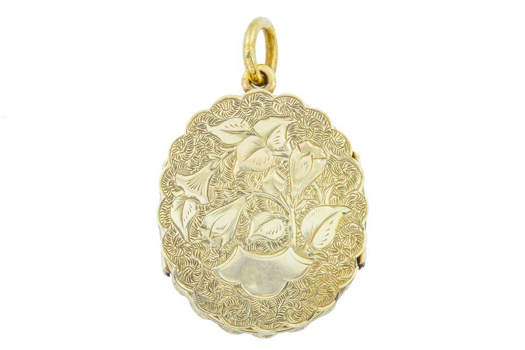 Victorian Mourning Locket, 9ct Gold Back and Front