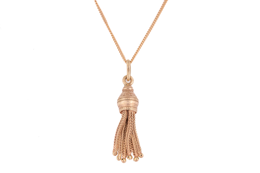 "Antique Rose Gold Tassel Pendant, with 16"" Chain"