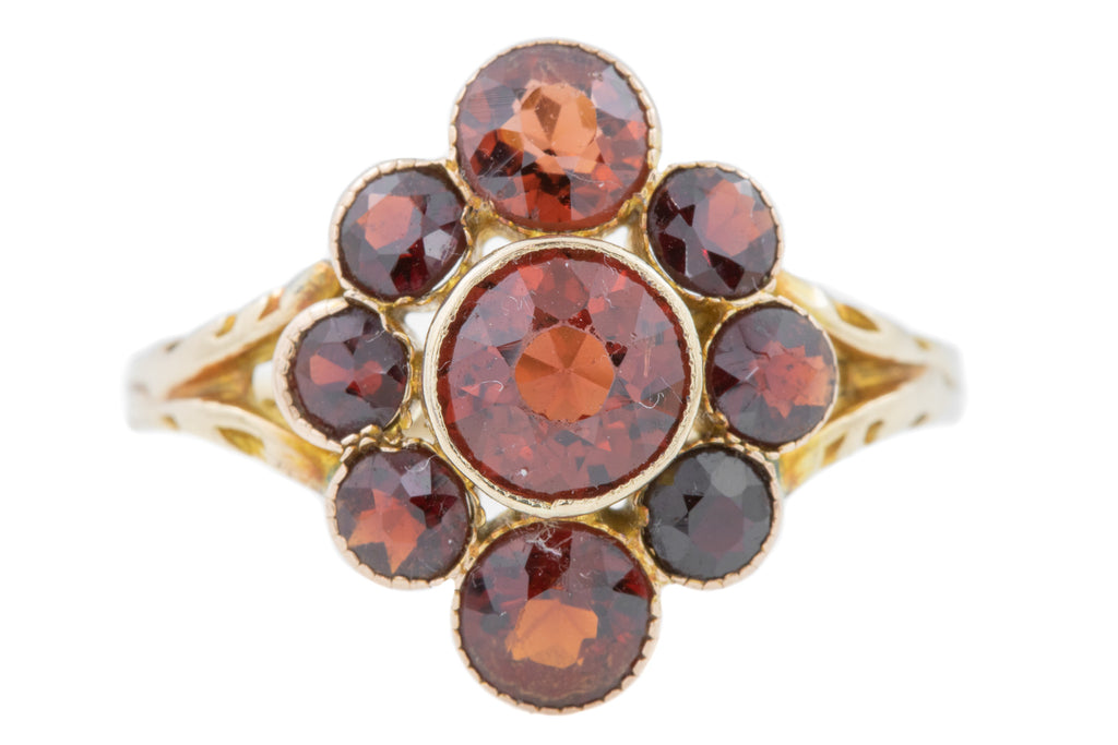 RESIZE TO 6.5 - 9ct Gold Antique Garnet Cluster Ring (2.1ct)