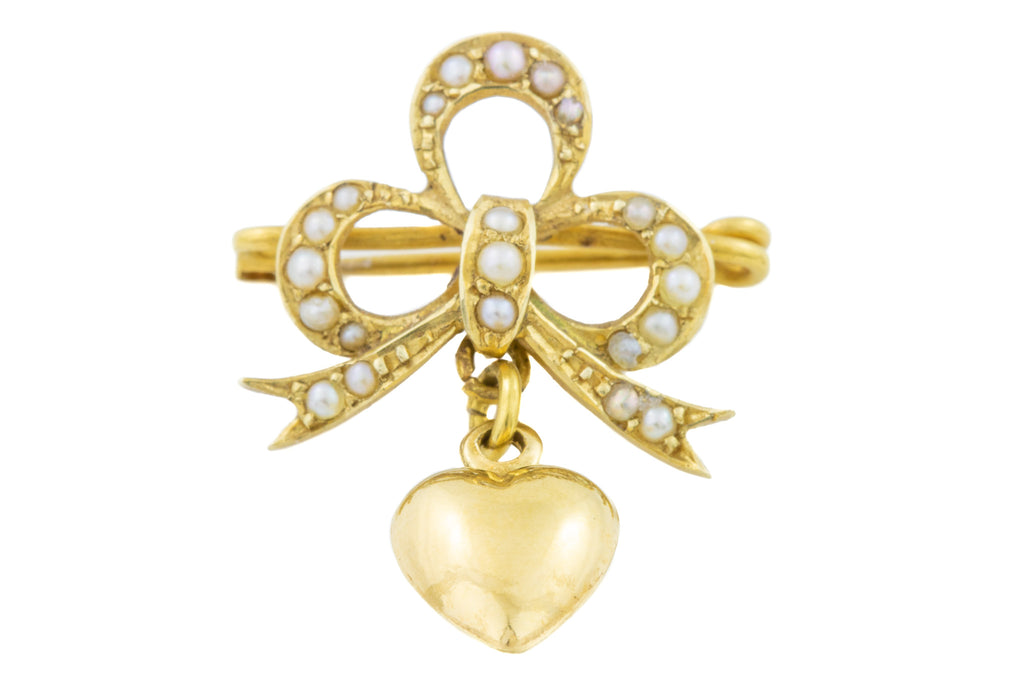Edwardian 15ct Gold Pearl Bow Brooch with Heart Charm
