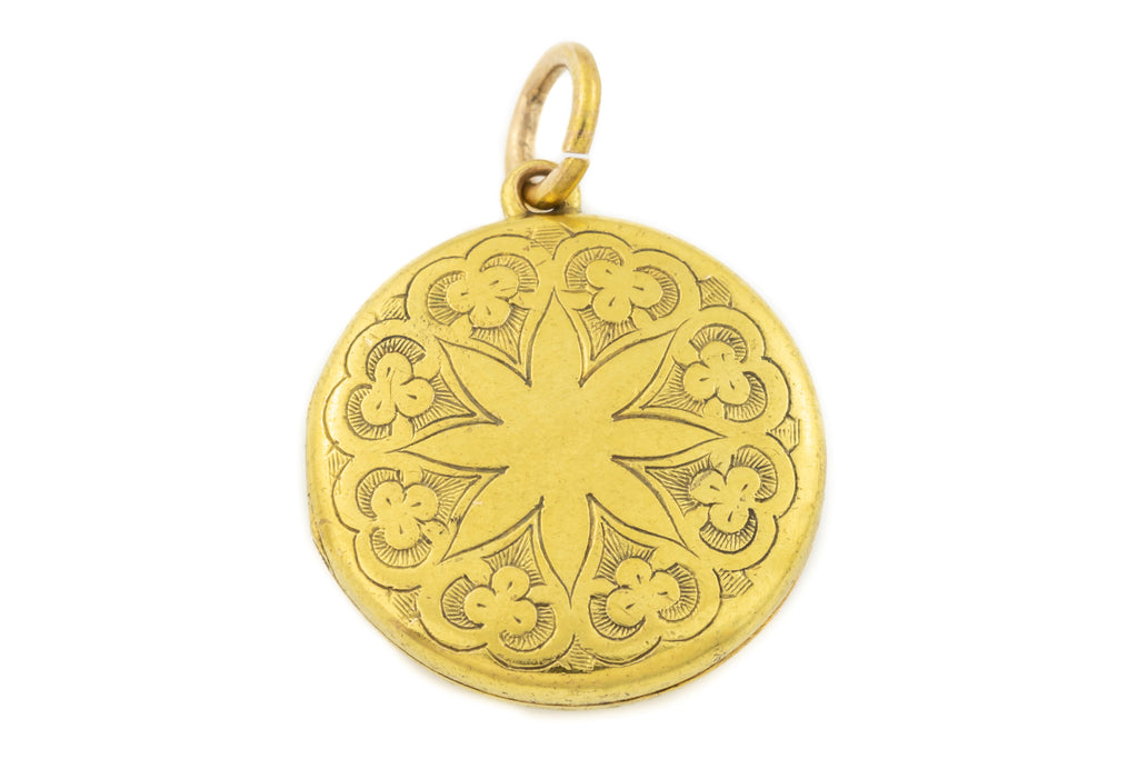"18ct Gold Round Locket with Engraved ""Mandala"" Pattern"