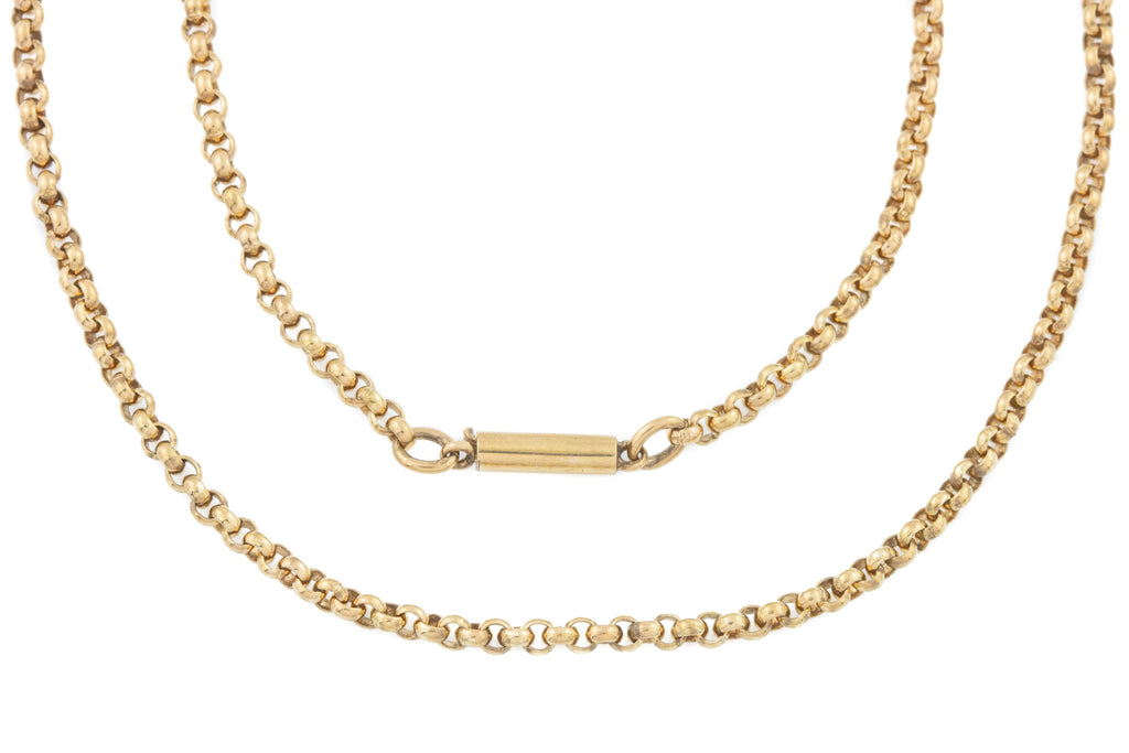 "Antique 9ct Gold Round Belcher Chain with Barrel Clasp - 24.5"" (10.3g)"