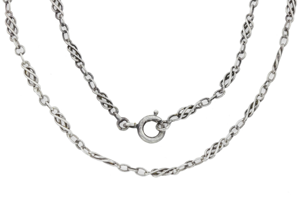 French Arts and Crafts Silver Chain, 40""