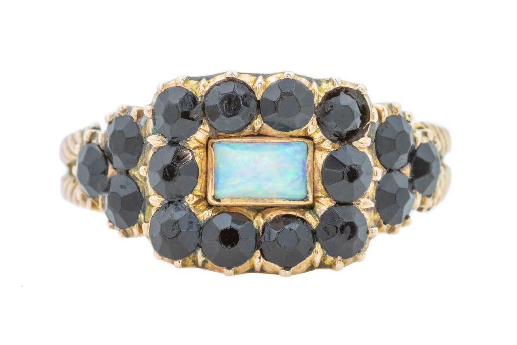 Georgian Jet and Opal Mourning Ring in 10ct Gold