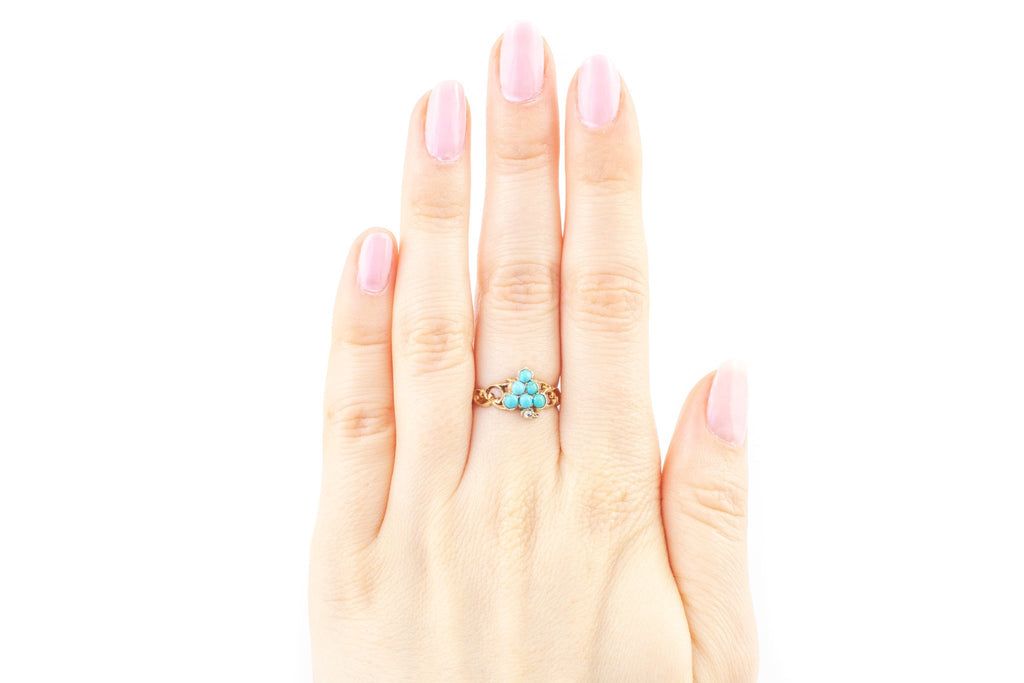 Antique Turquoise & Diamond Bunch of Grapes Ring in 9ct Gold