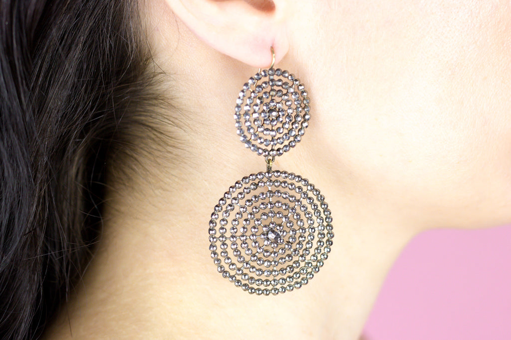 Large Georgian Cut Steel Double Disc Earrings