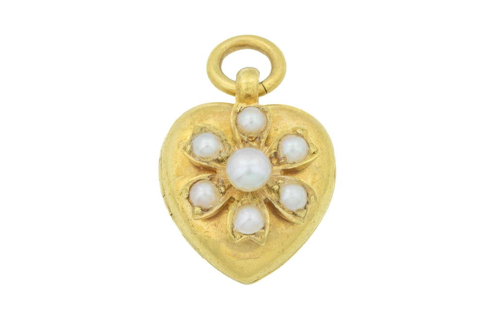 Antique 18ct Gold Heart Locket with Pearl Flower