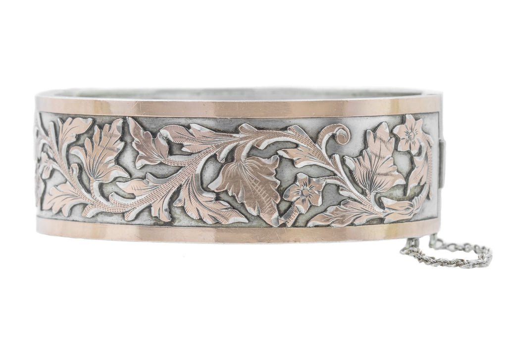 Antique French Silver Bangle with Gold Foliage