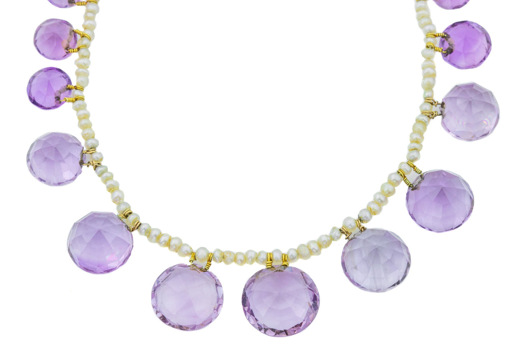 Antique Pearl Amethyst Necklace, 17""
