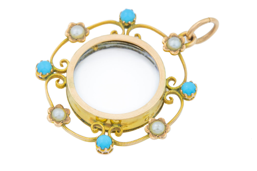 Antique Turquoise and Pearl Locket in 9ct Gold