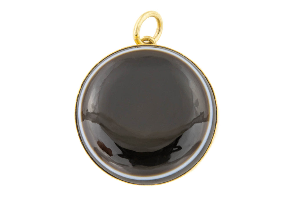 Antique Gold Banded Agate Pendant