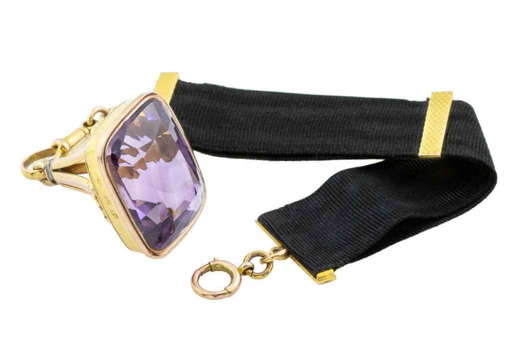 Art Deco Amethyst Fob Pendant with Ribbon c.1923 (42.39ct)