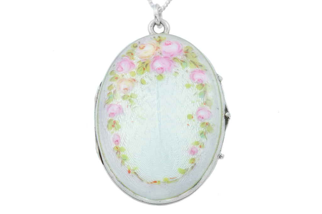 "Art Nouveau Guilloche Enamel Locket, with 18"" Chain"