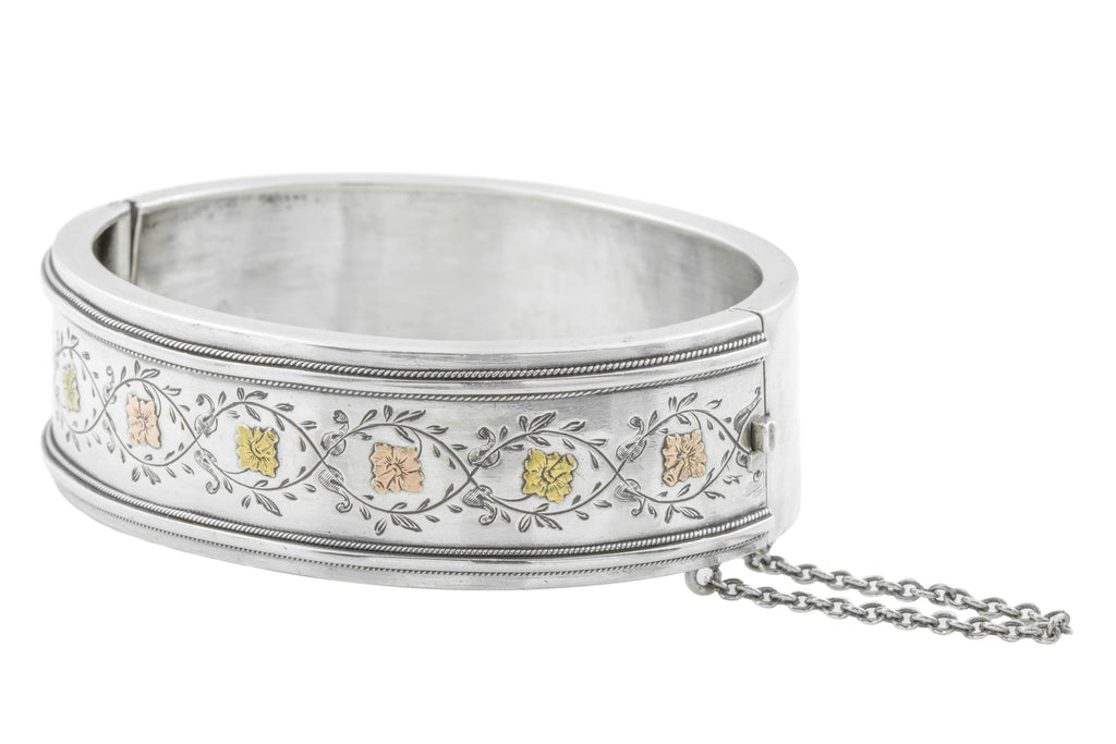 Victorian Aesthetic Silver Bangle with Gold Daffodils