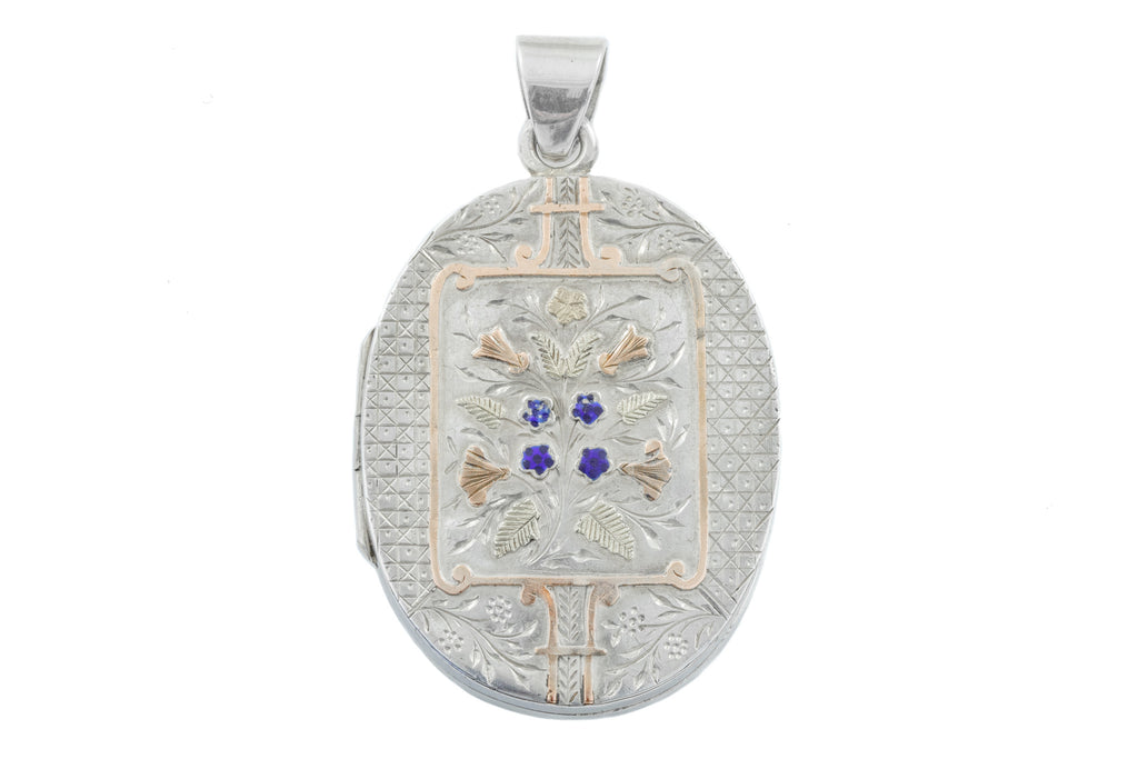 Victorian Aesthetic Silver Locket with Gold Floral Detailing c.1881