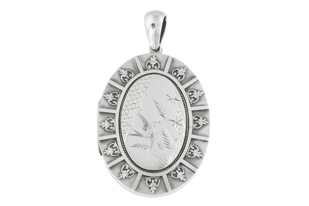 Victorian Aesthetic Silver Locket with Swallow c.1881
