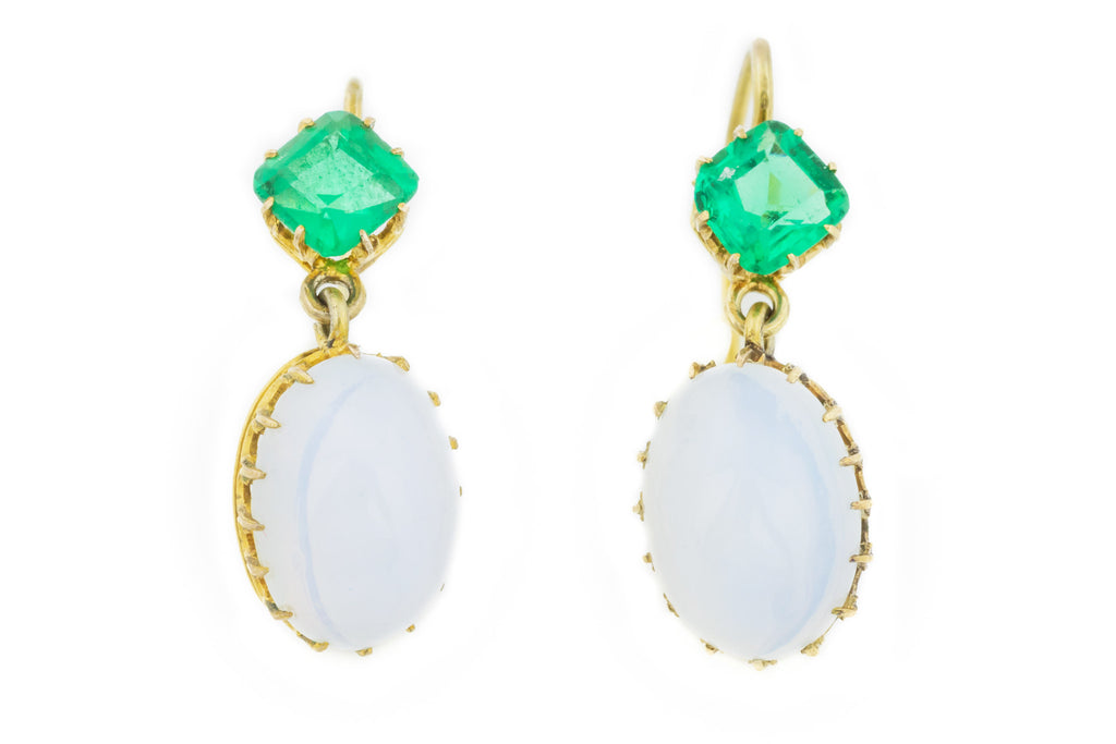 Antique Gold Opaline Emerald Paste Drop Earrings