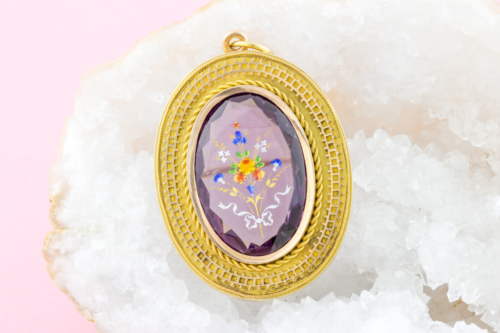 Antique 15ct Gold Amethyst Brooch Pendant with Painted Details (18.95ct)