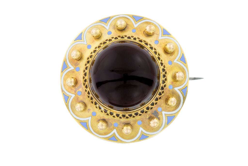 Impressive 15ct Gold Garnet Mourning Brooch (19.17ct)