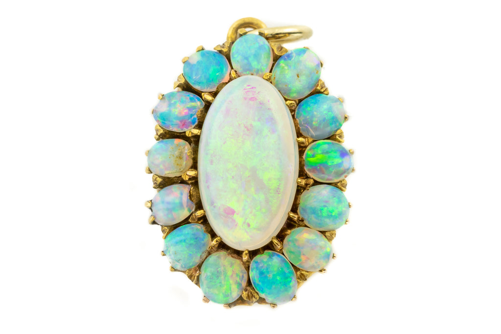 Antique Gold Opal Cluster Pendant Brooch (1.50ct)