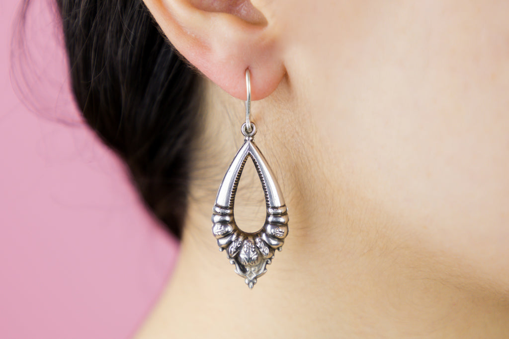 Victorian Revival Silver Repoussé Tear-Drop Earrings