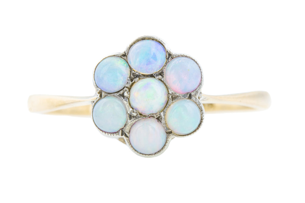 Antique Opal Flower Ring in Gold and Silver