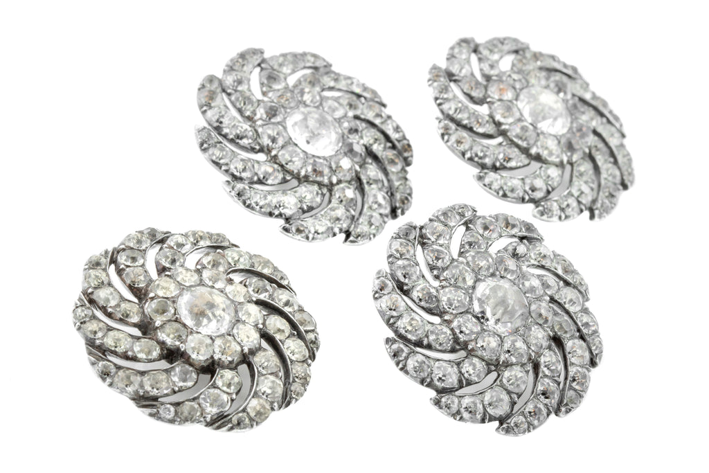 Set of Four French Paste Antique Buttons in Silver