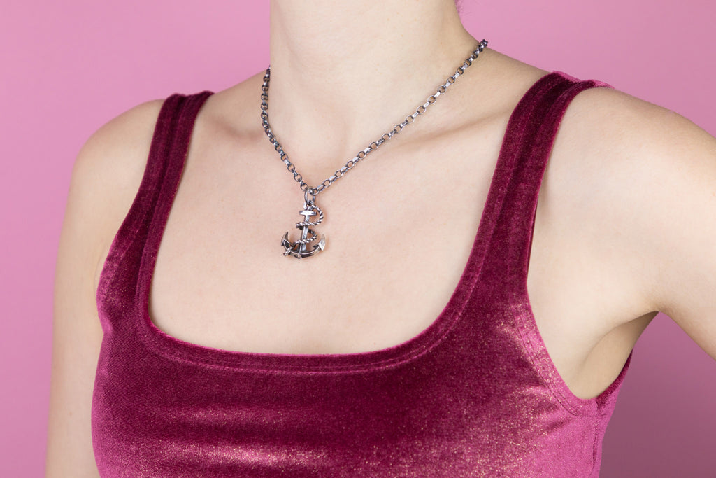 Silver Anchor Pendant with Belcher Chain, 17 & 3/4""