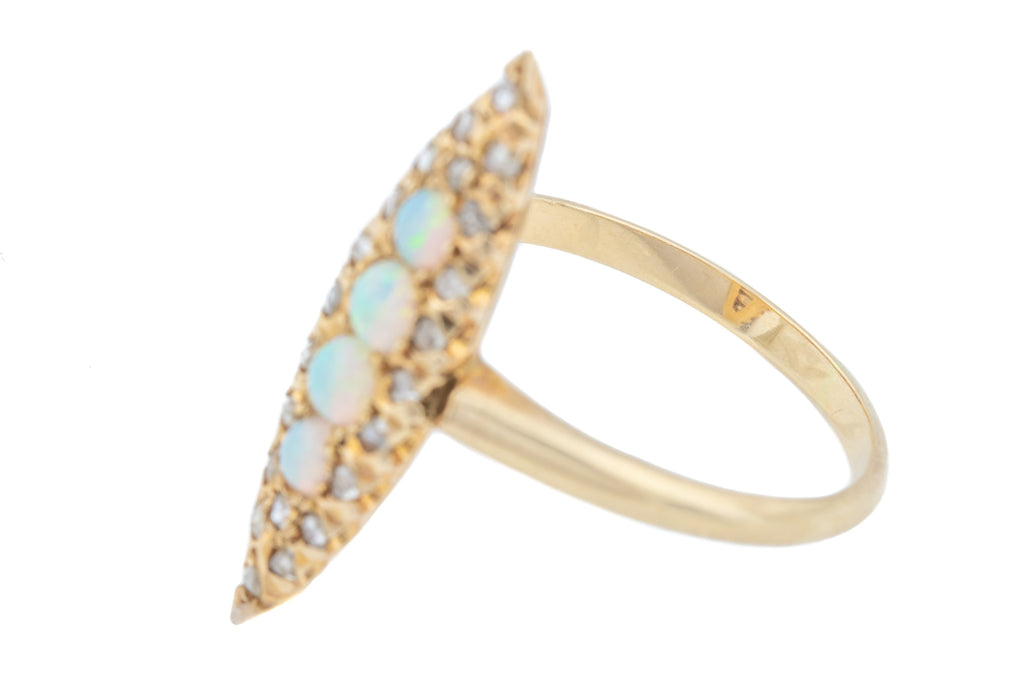 Antique Opal Diamond Marquise Ring in 14ct Gold