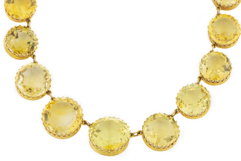 "Antique Gold Citrine Riviére Necklace 15"" (78.7ct)"