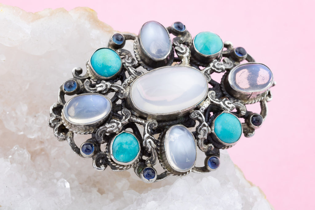 Large Antique Moonstone Turquoise Brooch (8.84ct)- SIGNED ZW&CO