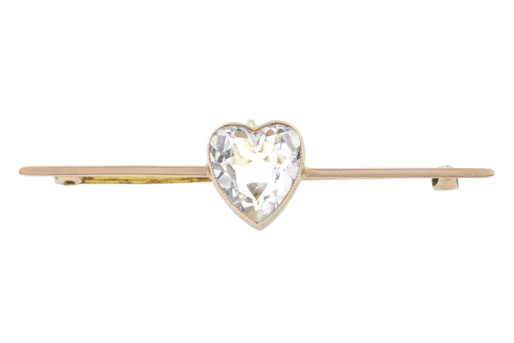 Antique Gold Rock Crystal Heart Bar Brooch