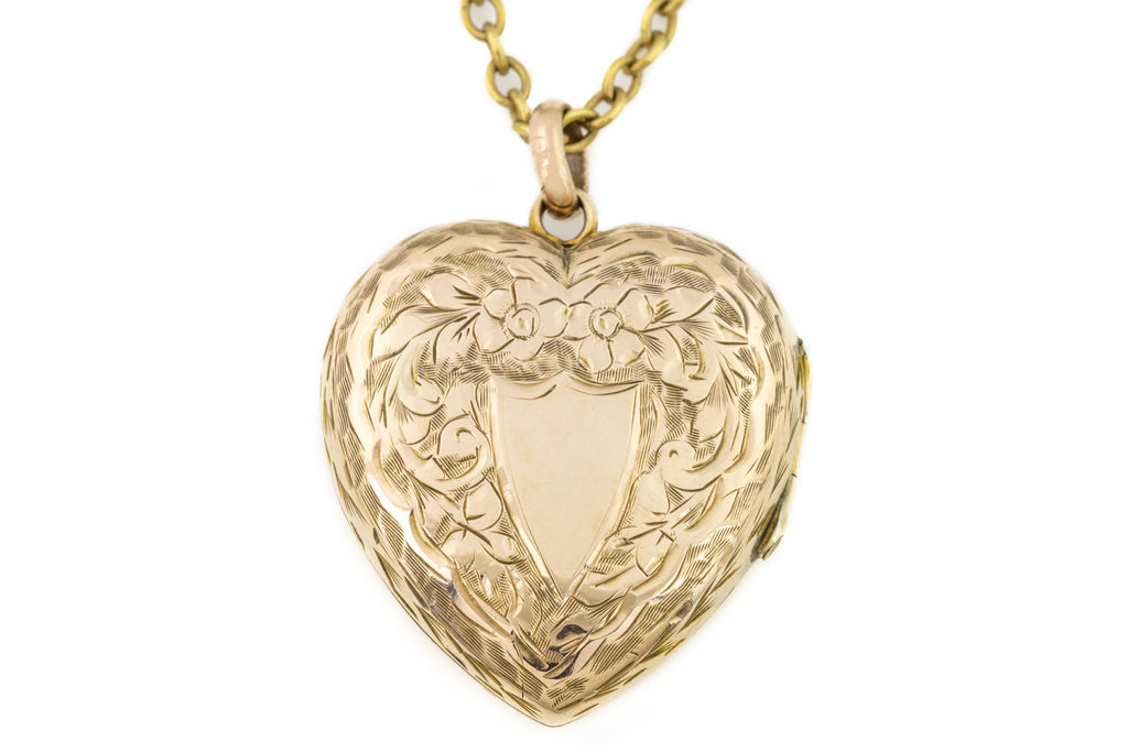 Victorian Gold Heart Locket with 14ct Gold Chain 17""