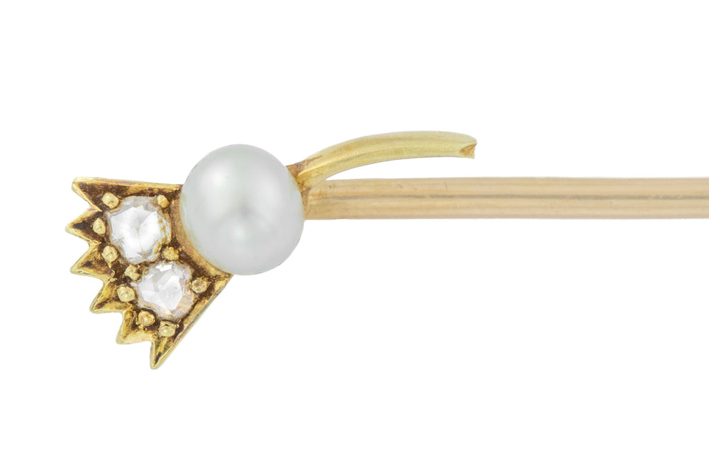 Antique 15ct Gold Thistle Stick Pin with Pearl and Diamonds
