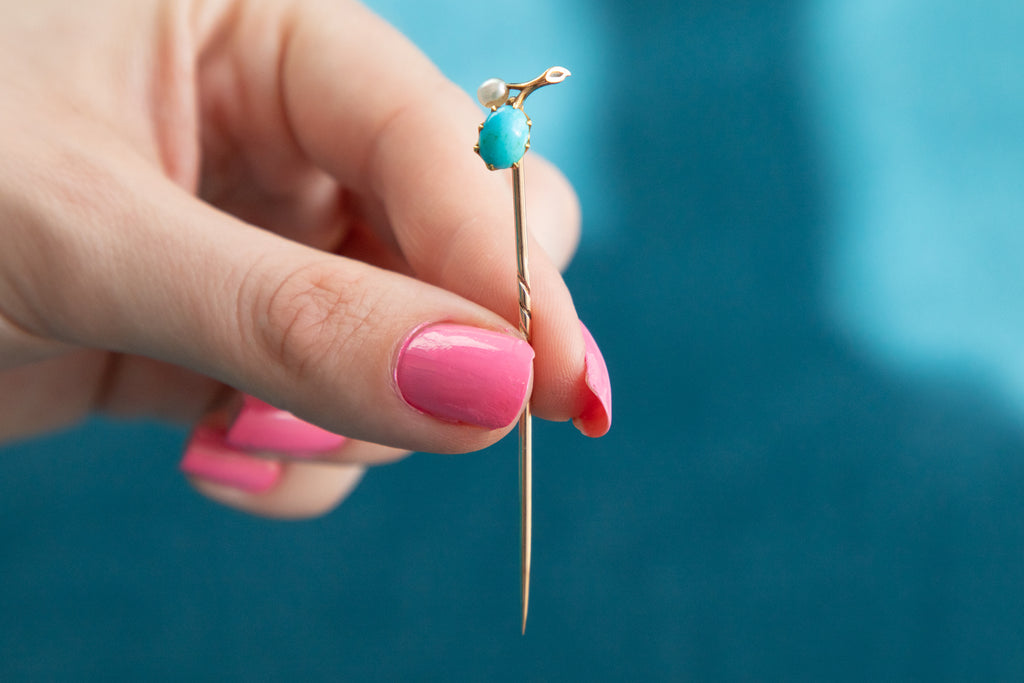 Antique 15ct Gold Turquoise Pearl Stick Pin