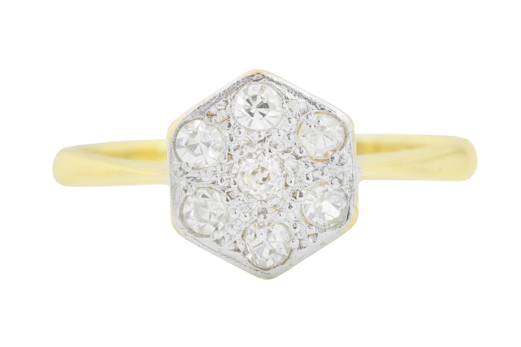 Art Deco 18ct Gold Diamond Cluster Ring (0.21ct)