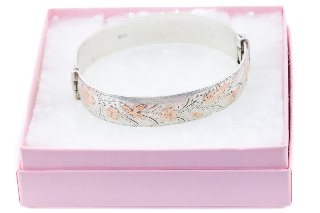 Victorian Revival Silver Bangle with Rose Gold Details