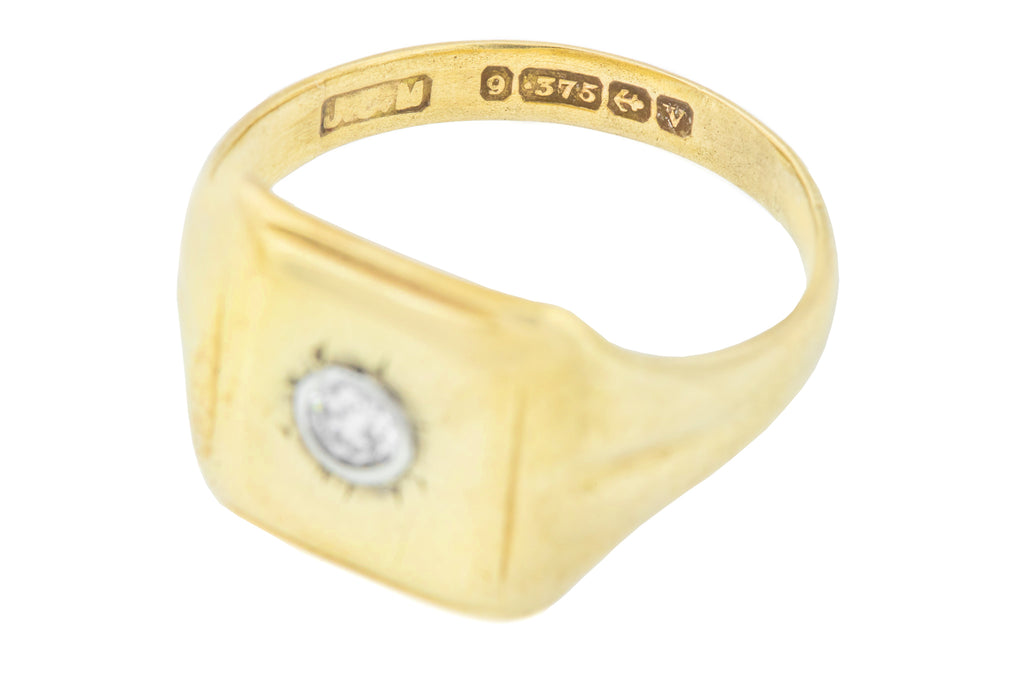 9ct Diamond Signet Ring - Art Deco Signet Ring- c.1945