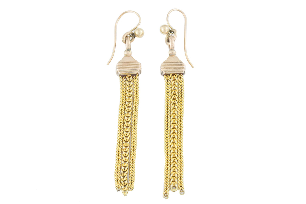 Victorian 9ct Gold Tassel Earrings on French Hooks