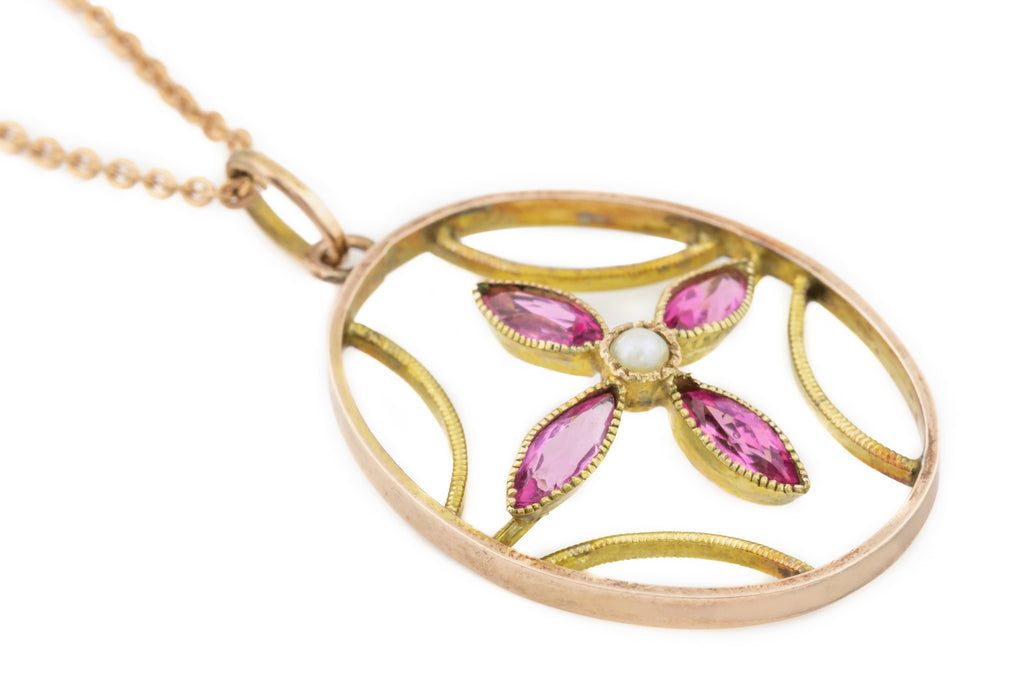 Edwardian 9ct Gold Pink Sapphire Pendant, with Adjustable Chain