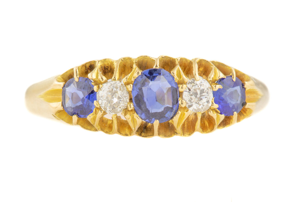 Victorian 18ct Gold Sapphire Diamond Five Stone Ring