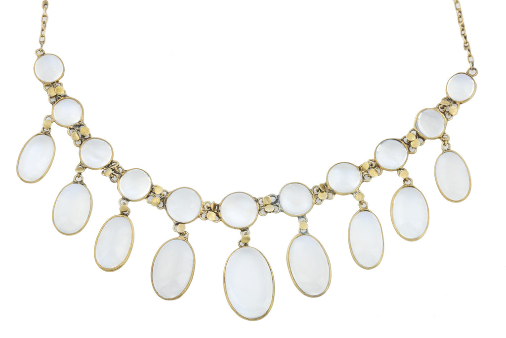 Gold Antique Moonstone Fringe Necklace (36.8ct)