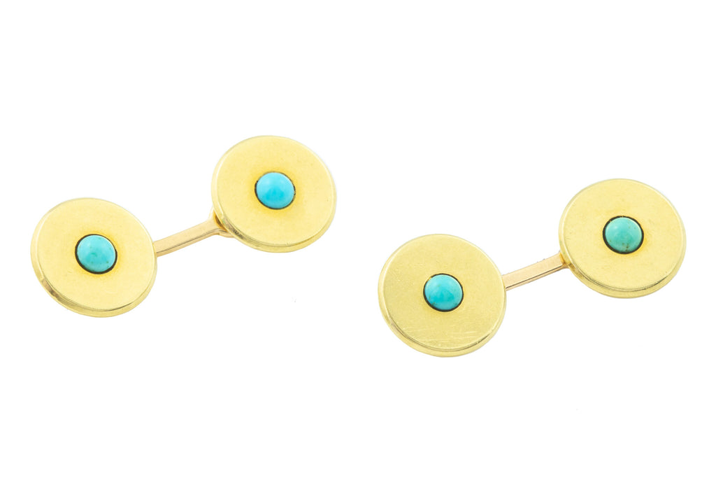 Antique 18ct Gold Turquoise Cufflinks