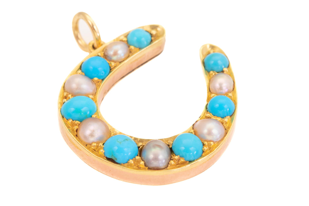 Victorian Gold Turquoise Pearl Horseshoe Pendant