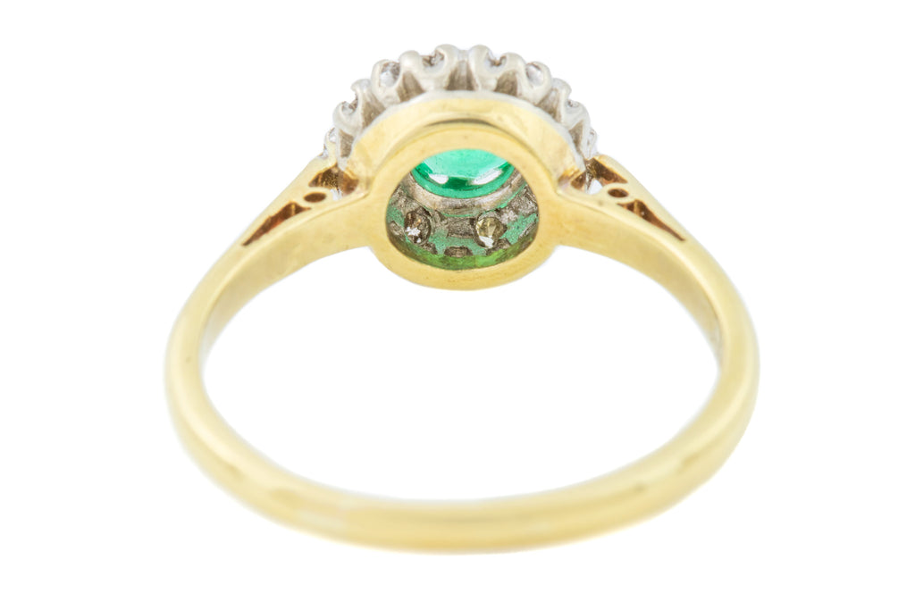 Art Deco Emerald Diamond Cluster Ring in 18ct Gold