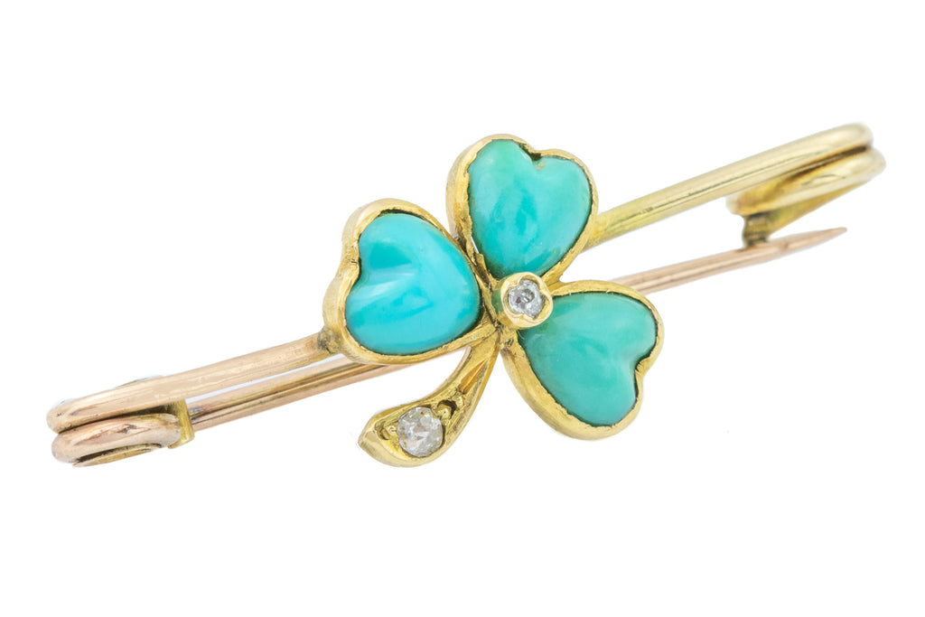 Antique 15ct Gold Turquoise Shamrock Brooch