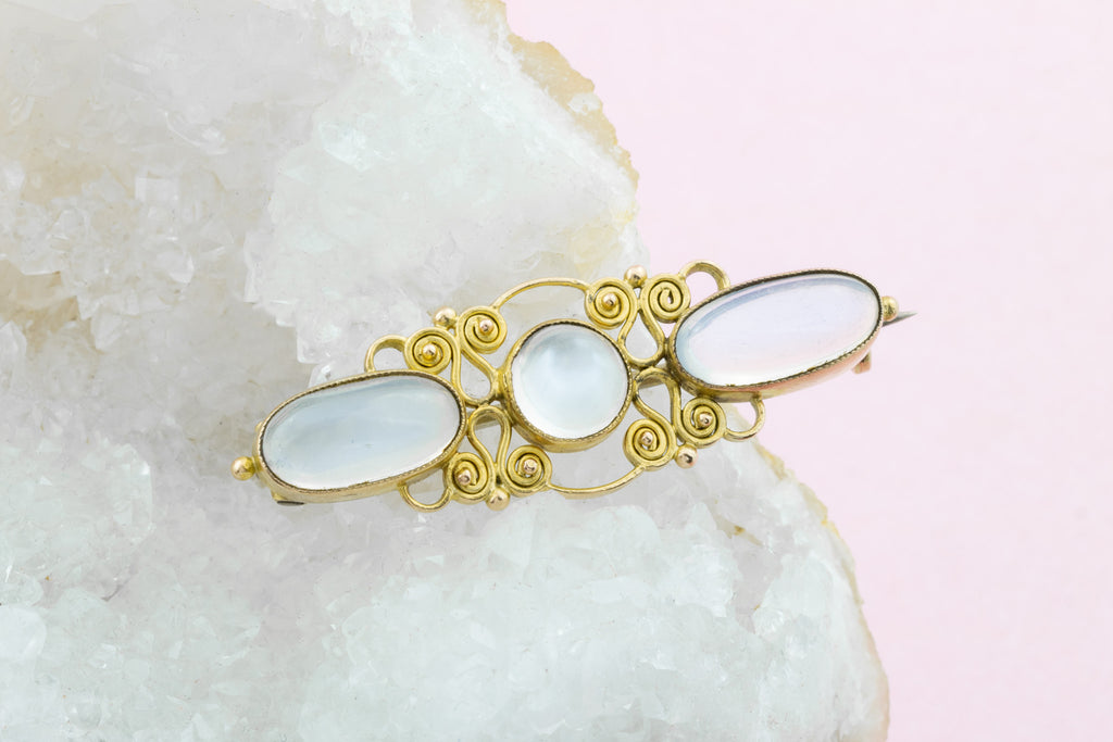 Antique Gold Moonstone Brooch (4.46ct) - Liberty & Co