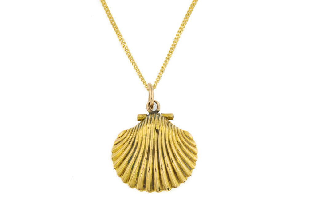 REMOVE CHAIN Georgian Shell Locket with Hair Work